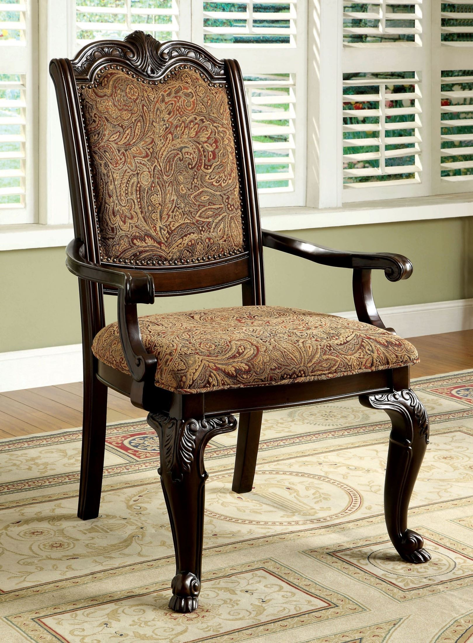 Cherry Chairs Bellagio Brown Cherry Fabric Arm Chair Set Of 2 From