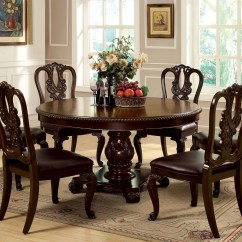 Dining Room Sets 6 Chairs Reclining For Elderly Bellagio Brown Cherry Round Pedestal Set From