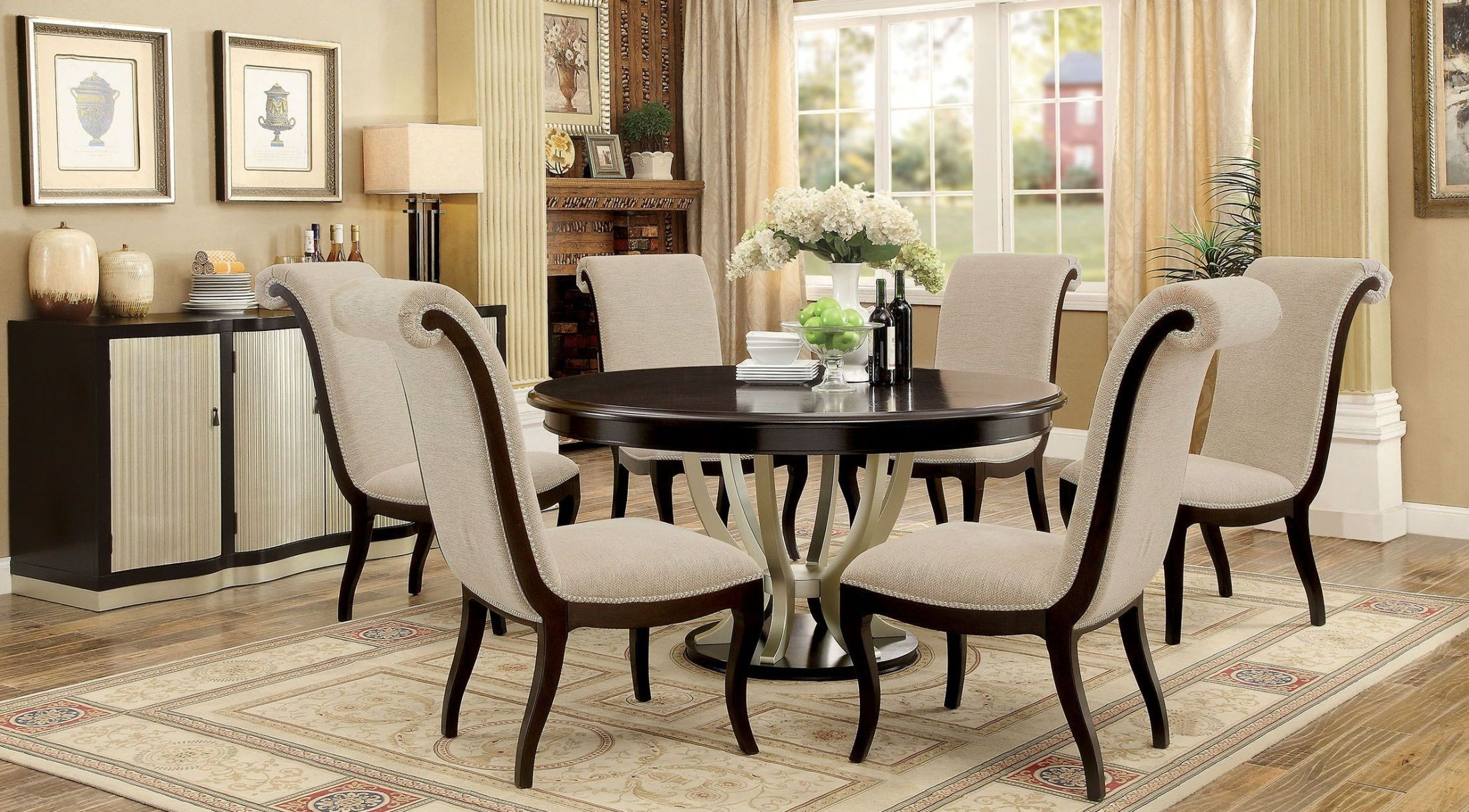 Ornette Espresso Round Dining Room Set CM3353RT Furniture of America