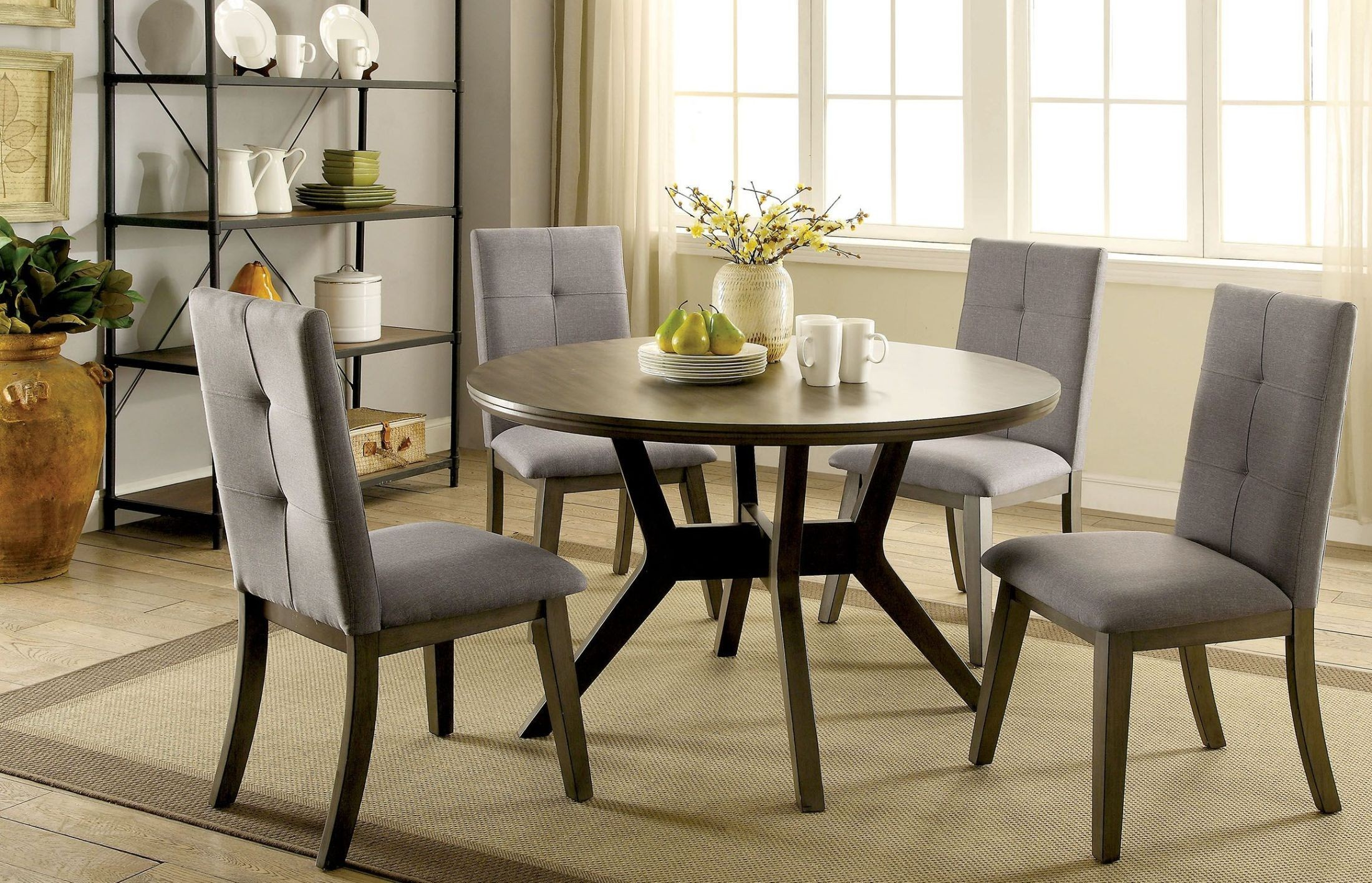Abelone Gray Round Dining Room Set from Furniture of America  Coleman Furniture