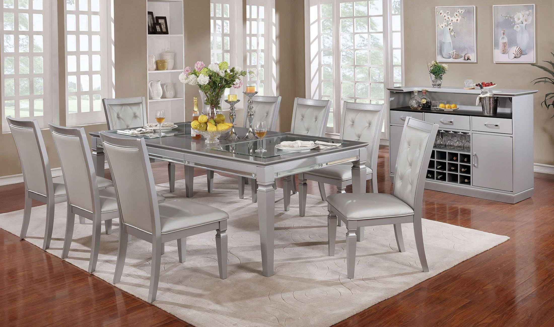 Alena Silver Dining Room Set from Furniture of America