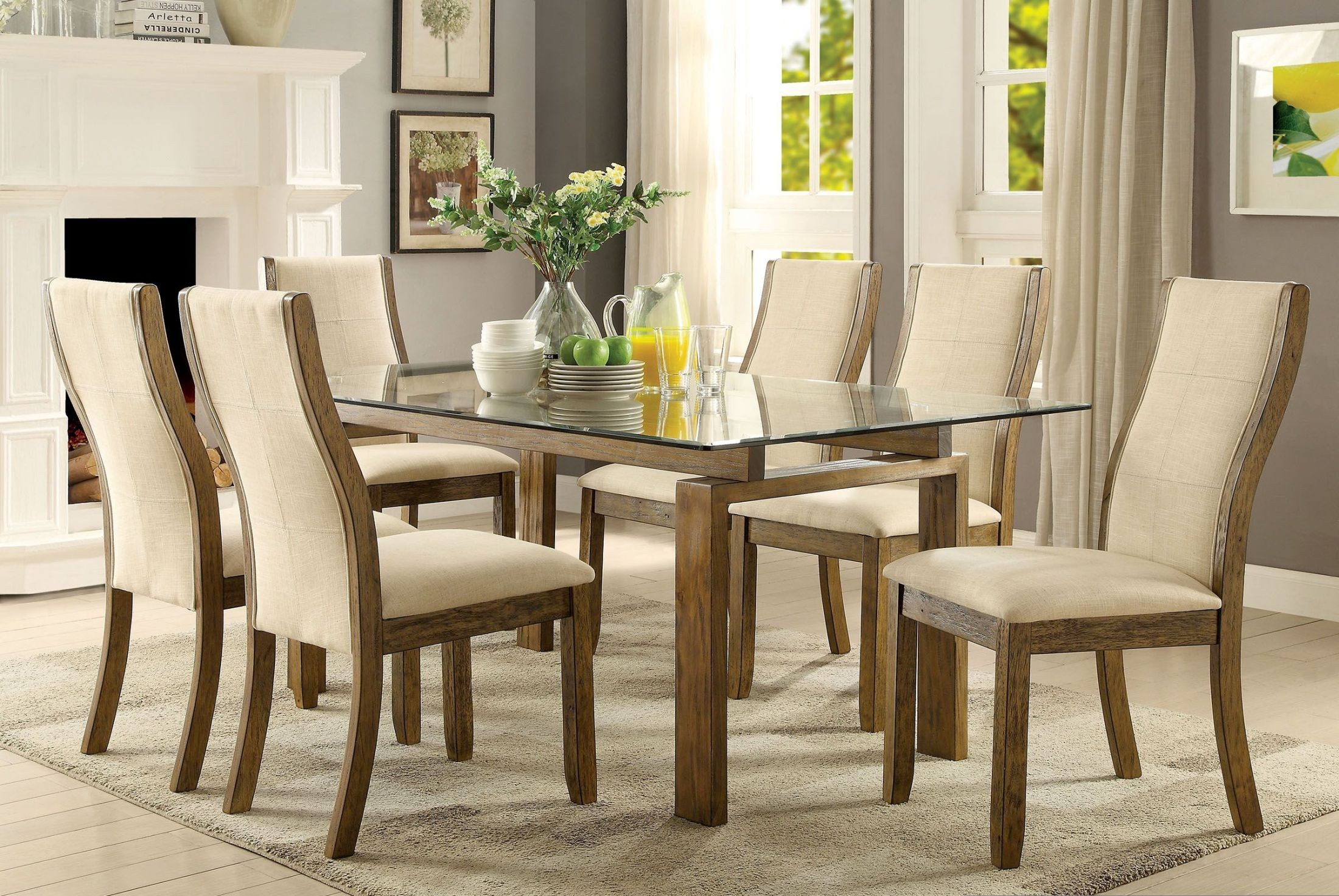 Onway Oak Rectangular Glass Top Dining Room Set, Cm3461t