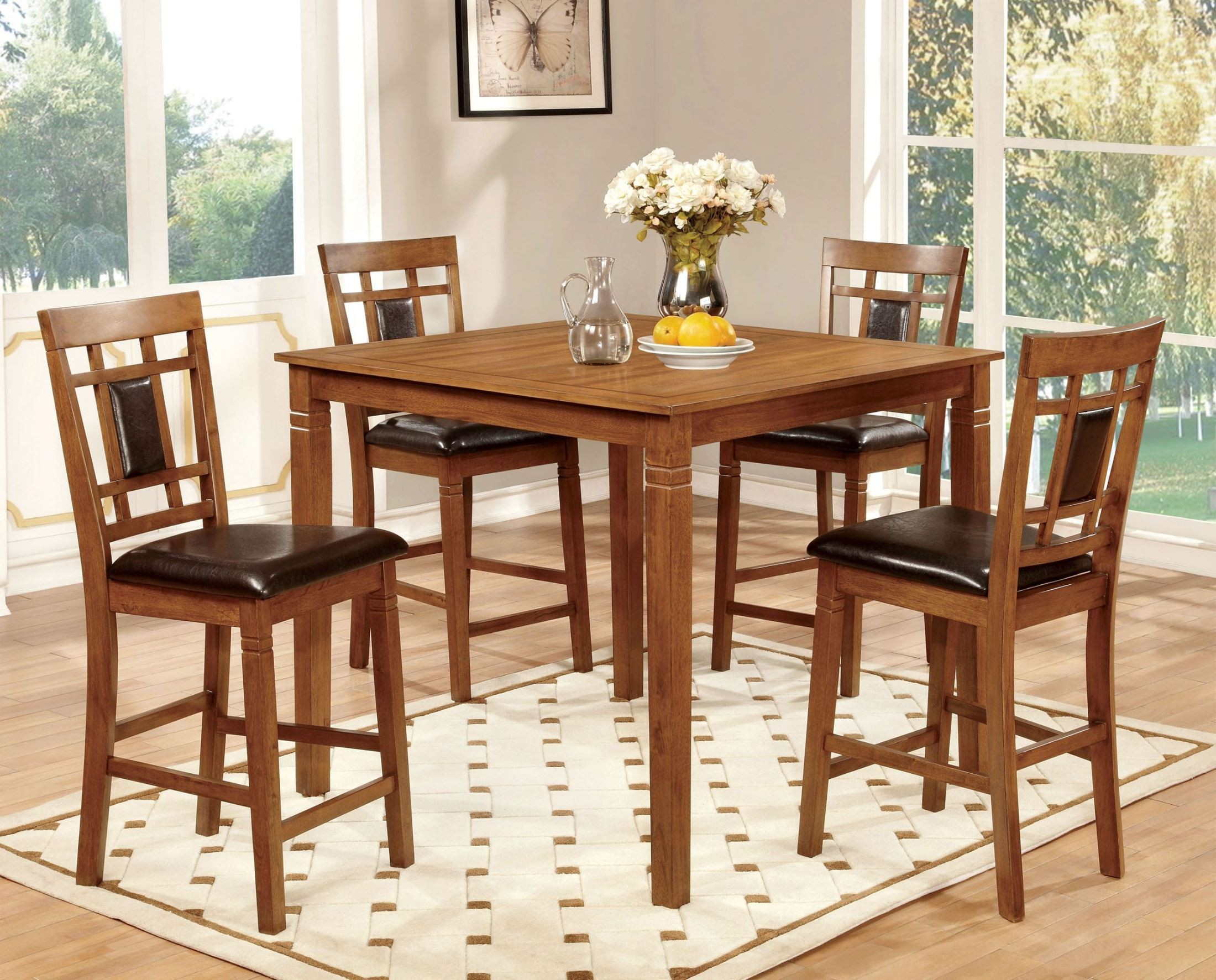Freeman II Light Oak 5 Piece Counter Height Table Set From