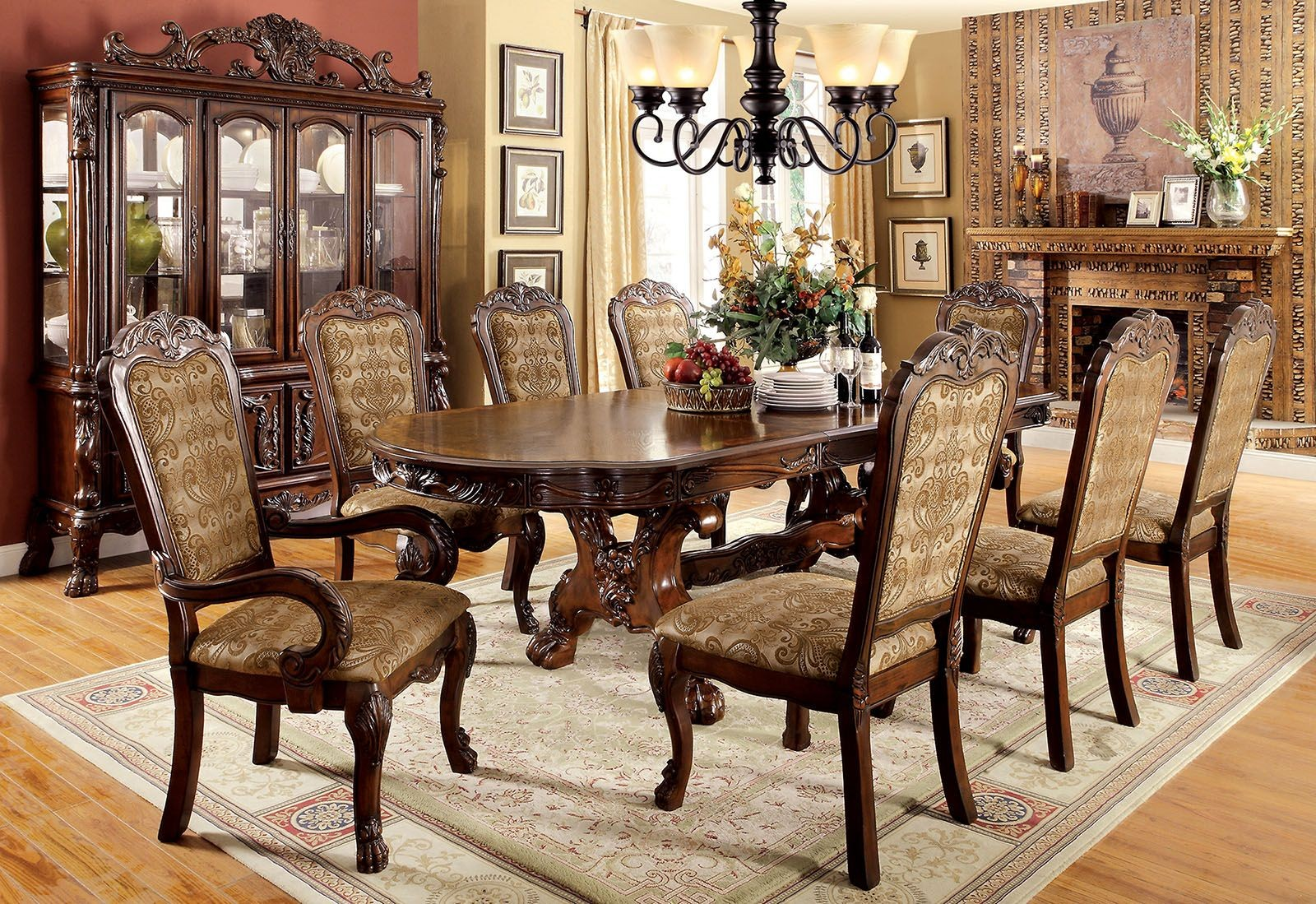 Medieve Cherry Extendable Rectangular Dining Room Set from