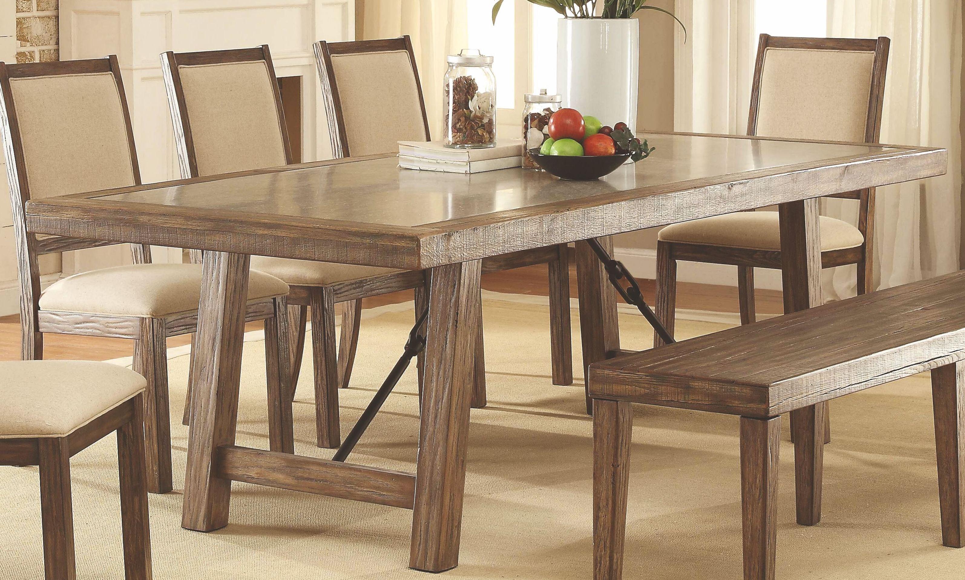 Colettte Rustic Oak Rectangular Dining Room Set, Cm3562t