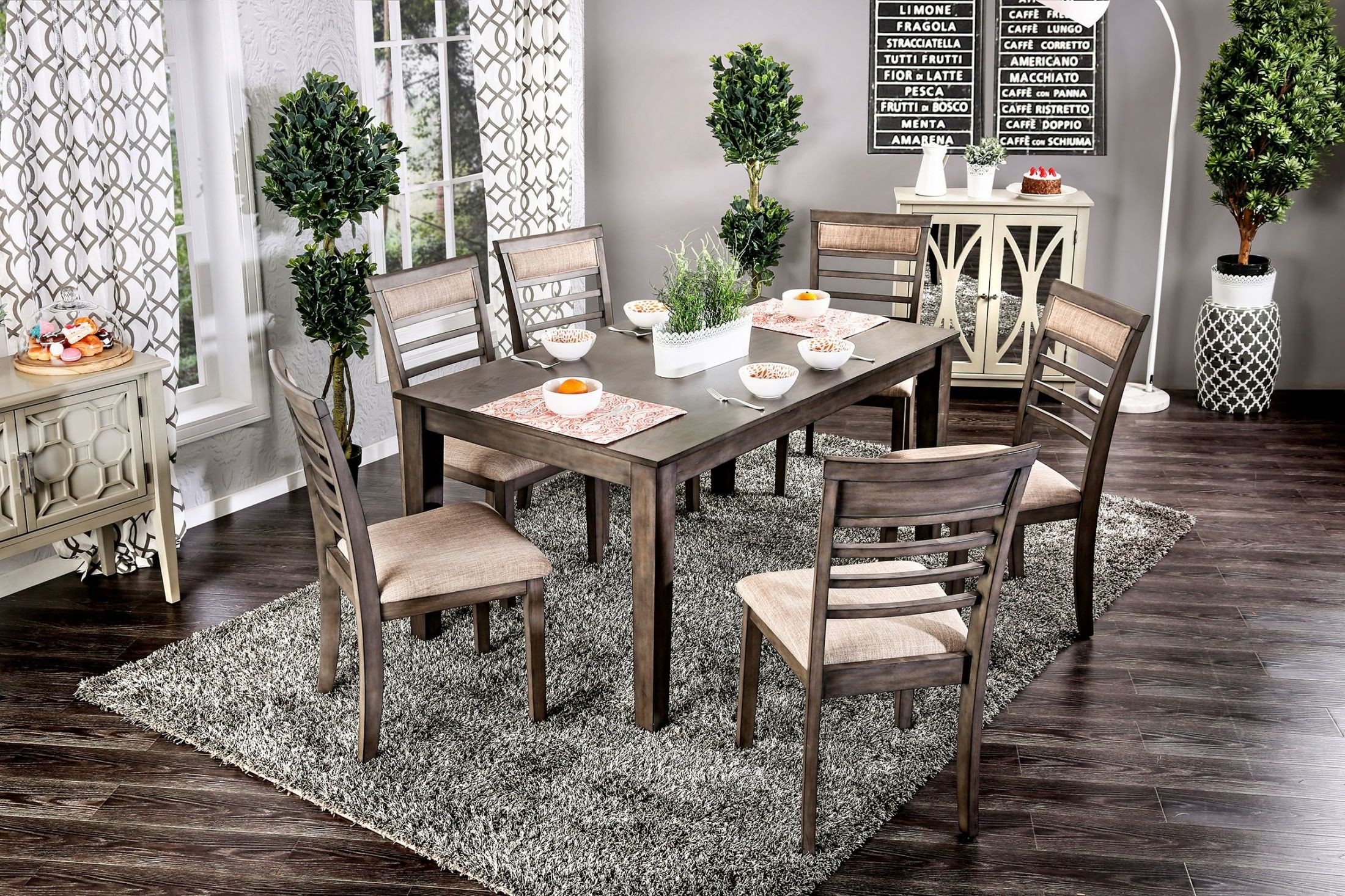 Taylah Weathered Gray 7 Piece Dining Set from Furniture of