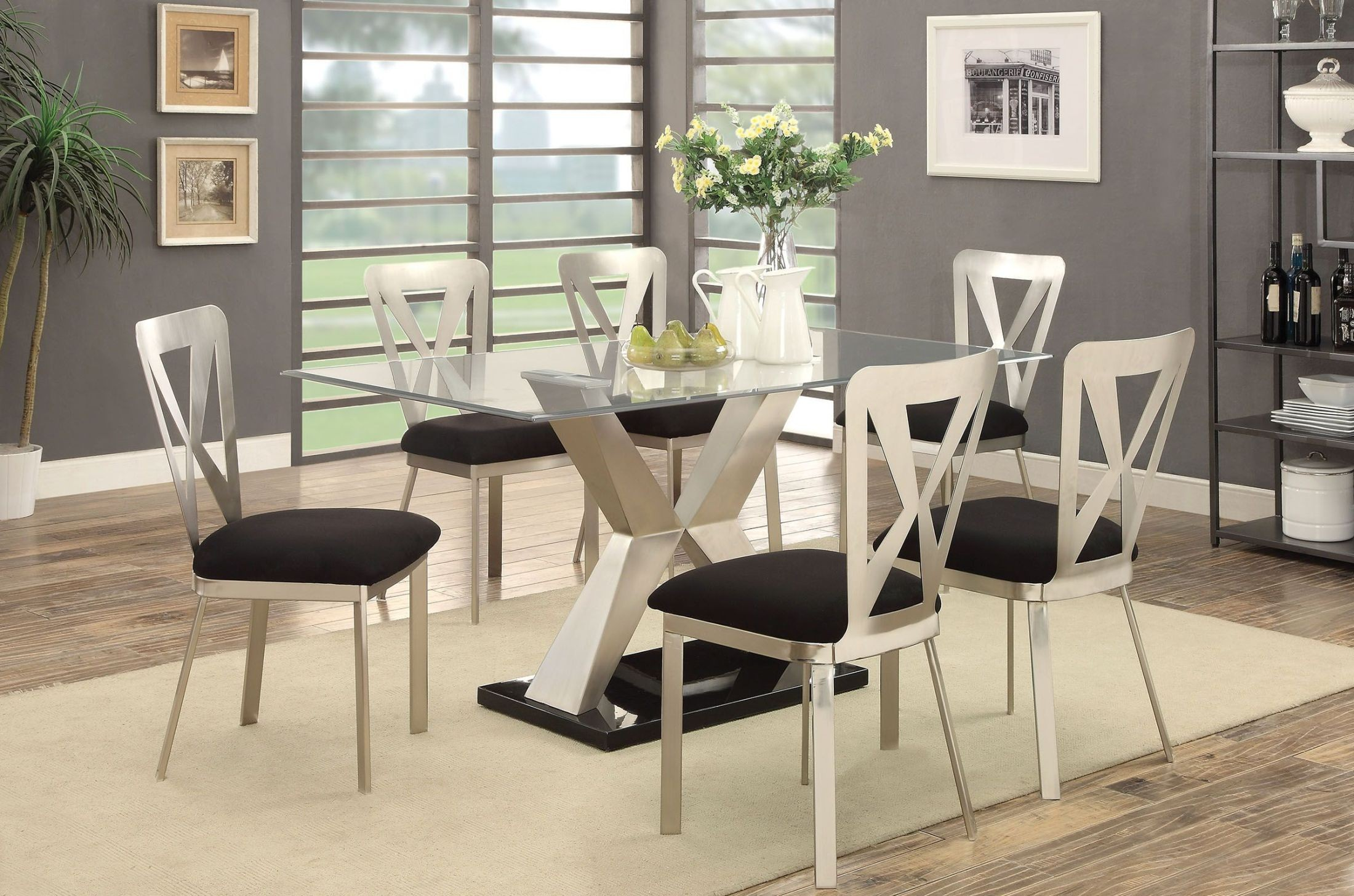Kera Silver and Black Dining Room Set CM3725TTABLE