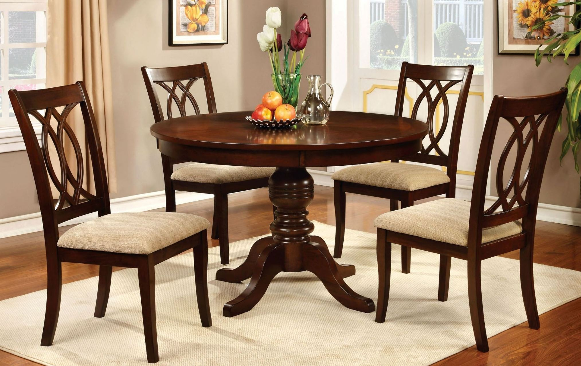 Carlisle Brown Cherry Round Pedestal Dining Room Set from