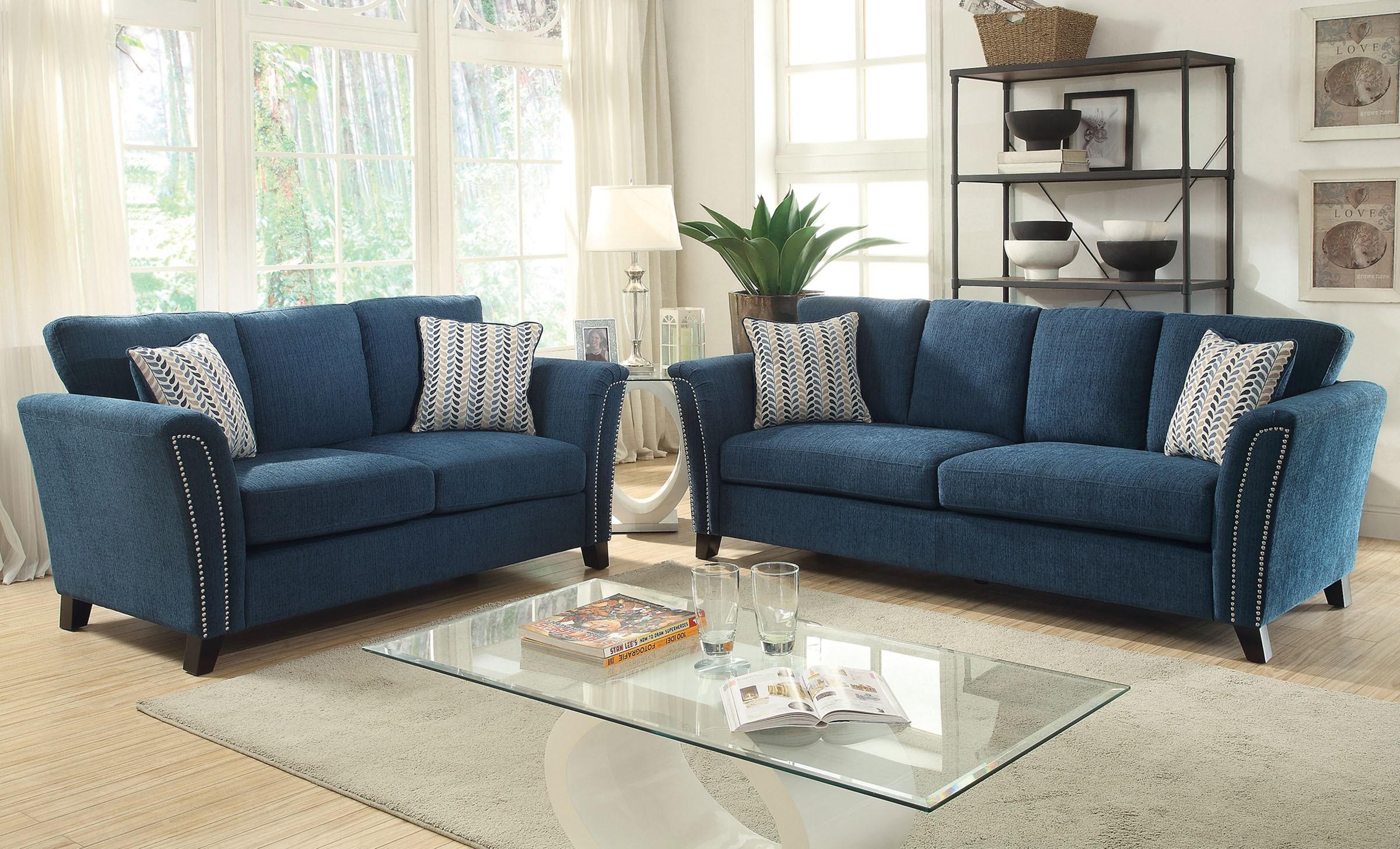 Campbell Dark Teal Living Room Set, CM6095TL