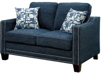 Kerian Blue Chenille Loveseat from Furniture of America ...