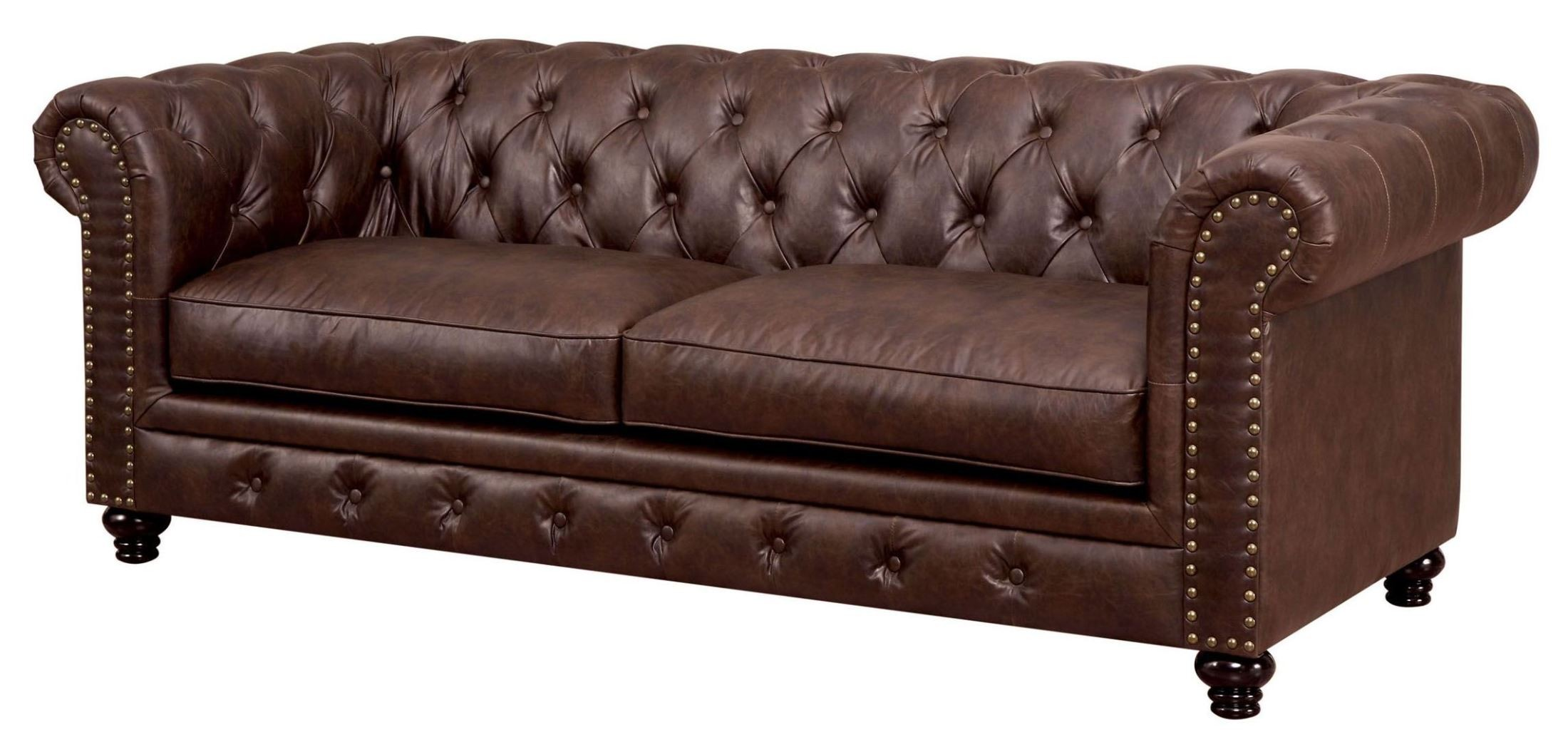 leatherette sofa studio apartment sofas stanford brown from furniture of america