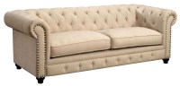 Stanford Ivory Fabric Sofa from Furniture of America ...