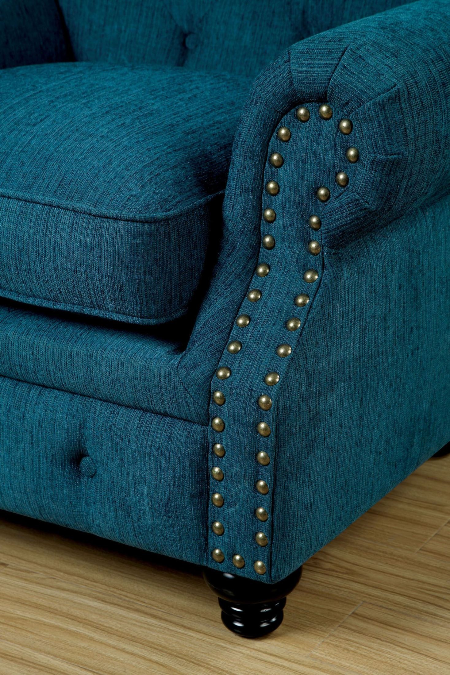 dark teal chair bathroom safety shower tub bench stanford fabric sofa from furniture of america