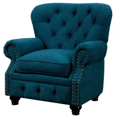 Teal Tufted Chair Cover Rentals Huntsville Al Stanford Dark Fabric From Furniture Of America