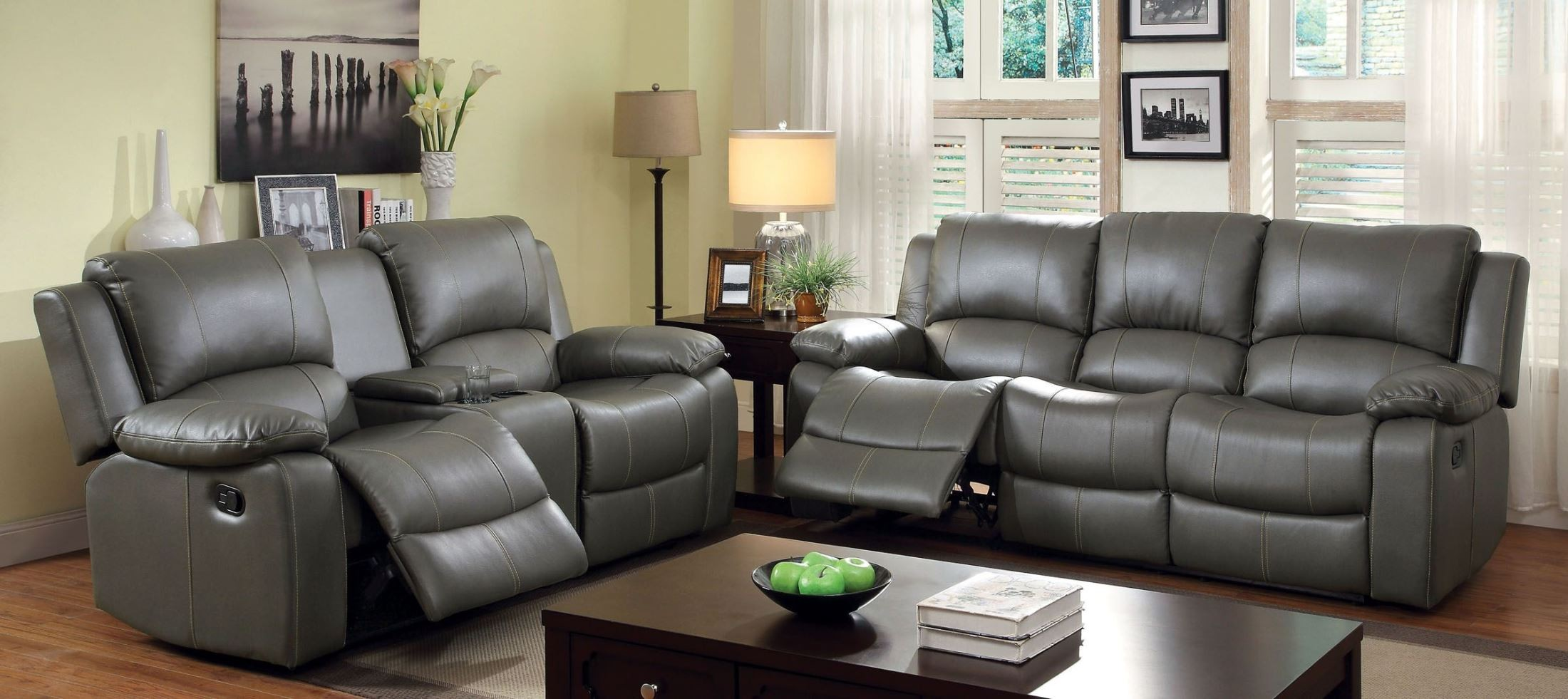 Grey Living Room Chairs Sarles Gray Drop Down Table Reclining Living Room Set From