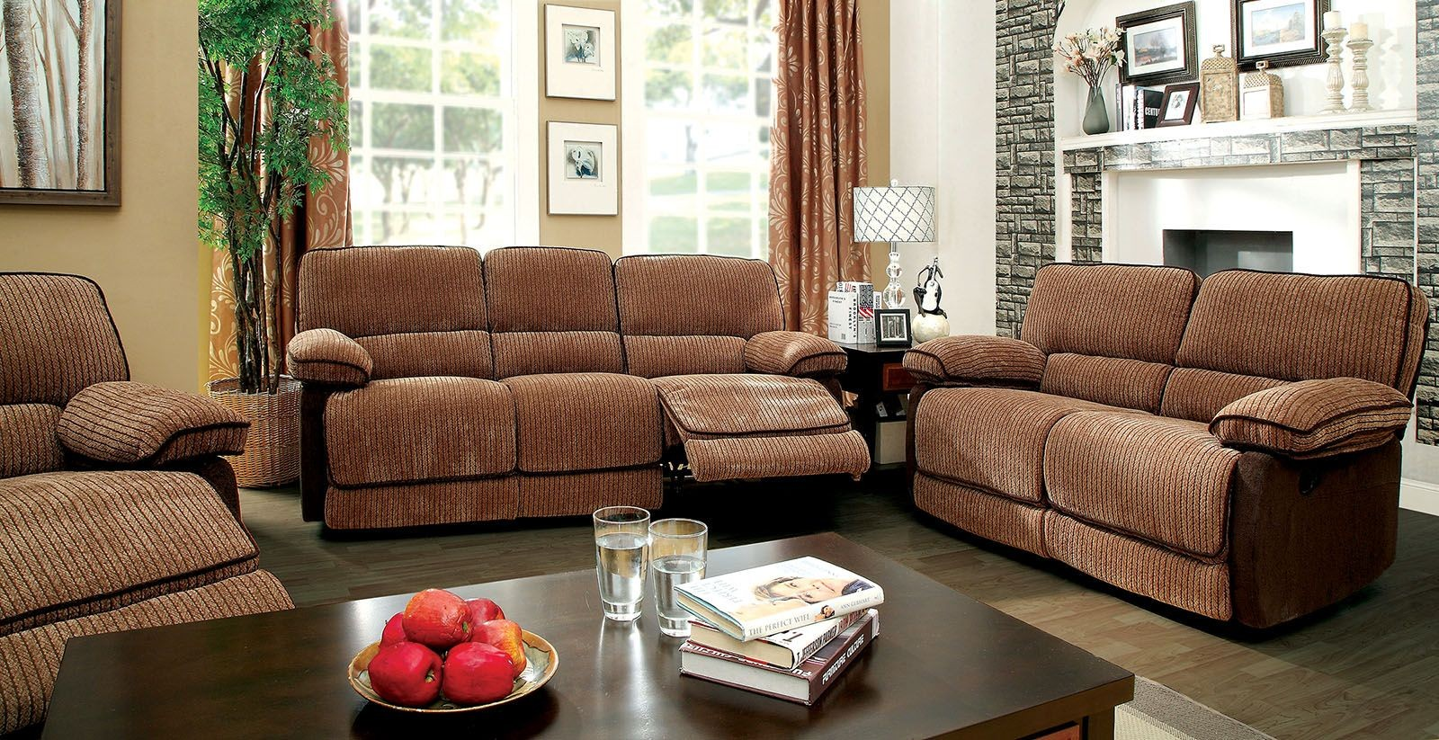 Hazlet Brown Chenille Fabric Living Room Set From