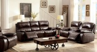 Ruth Brown Leather Reclining Living Room Set, CM6783BR-SF ...