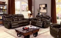 Justine Brown Leather Reclining Living Room Set from ...