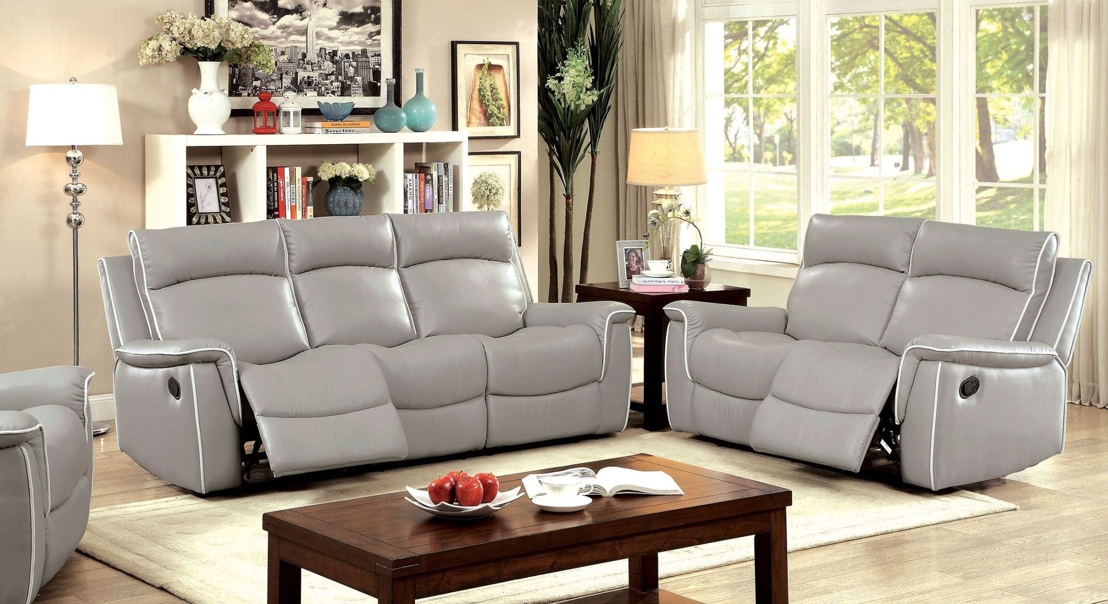 Grey Living Room Chairs Salome Light Gray Recliner Living Room Set Cm6798 Sf