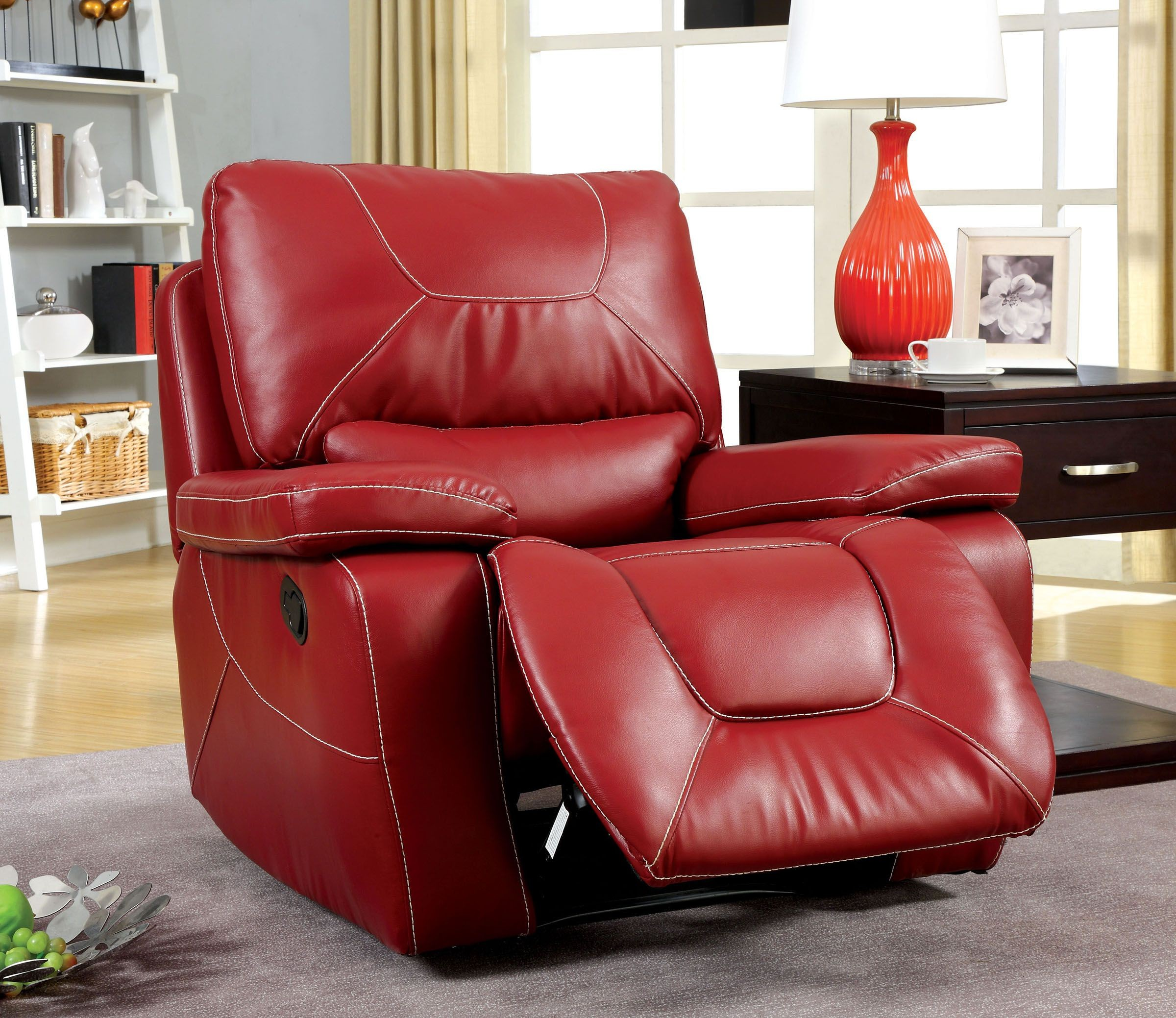 red microfiber reclining sofa leather cushion stuffing newburg living room set from furniture of