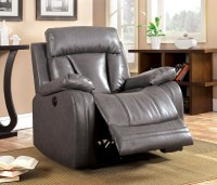 Guilford Gray Bonded Leather Reclining Living Room Set ...