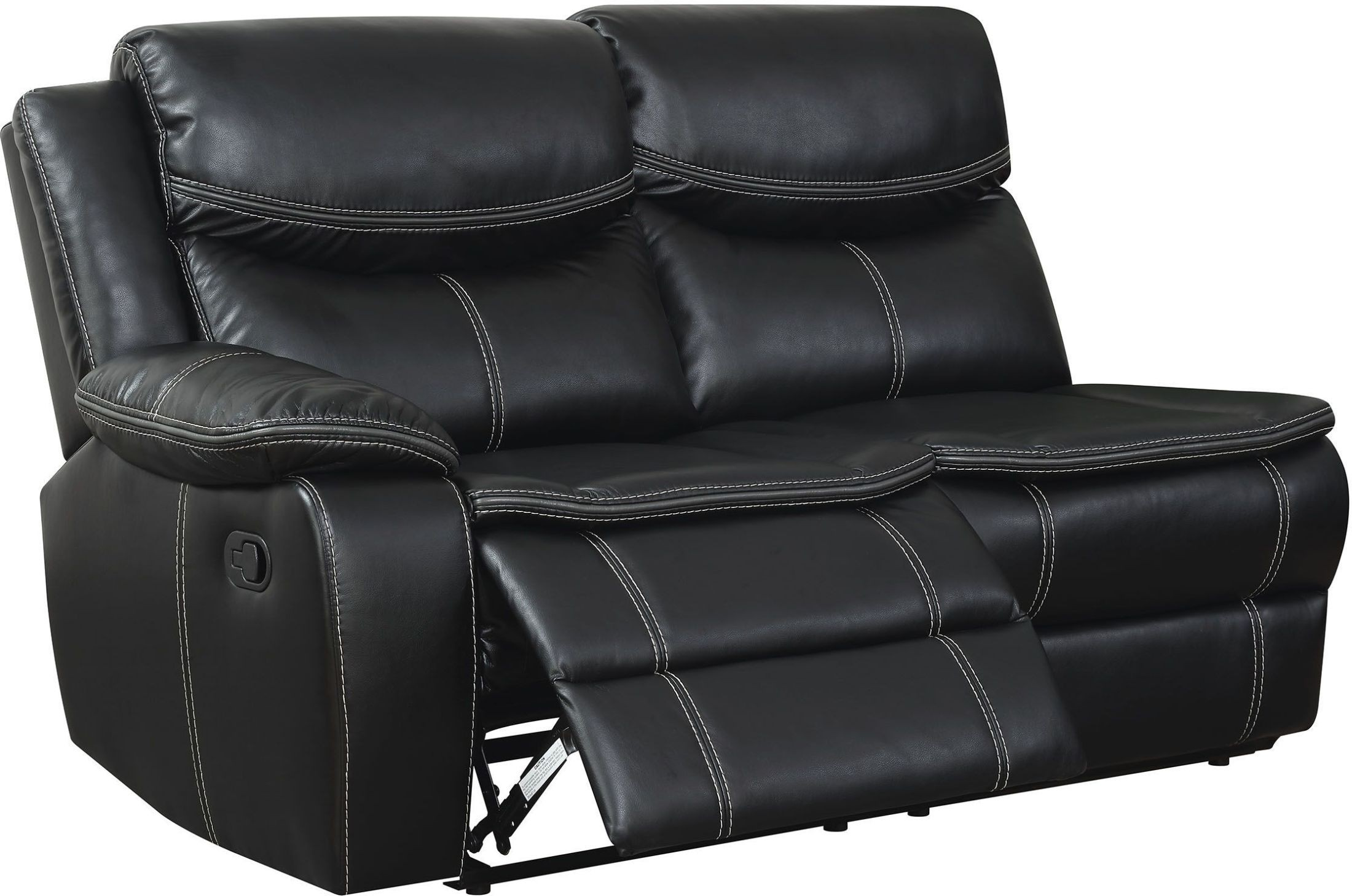 black reclining sofa with console synthetic rattan set philippines gatria ii sectional from