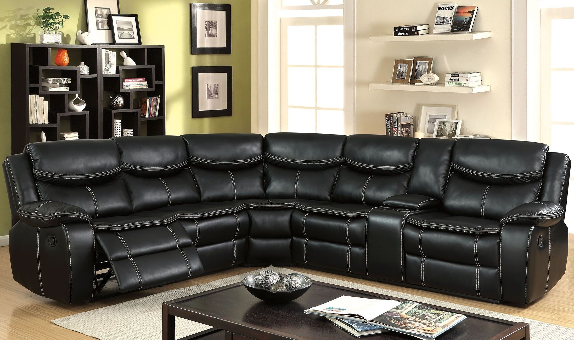 black reclining sofa with console how to make a simple bed gatria ii sectional from