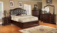 Arden Brown Cherry Faux Leather Platform Bedroom Set ...