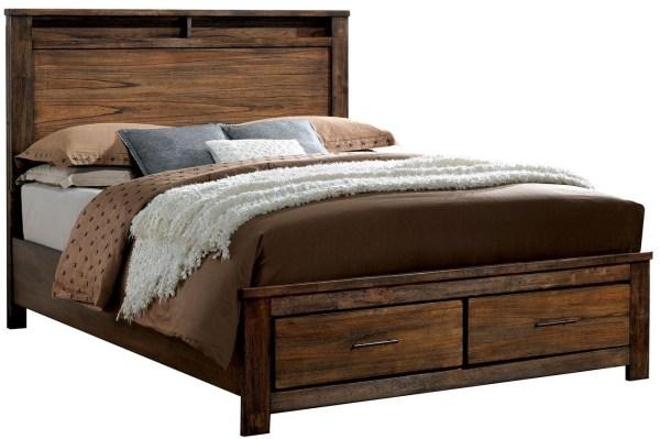 Oak Cal King Platform Storage Bed