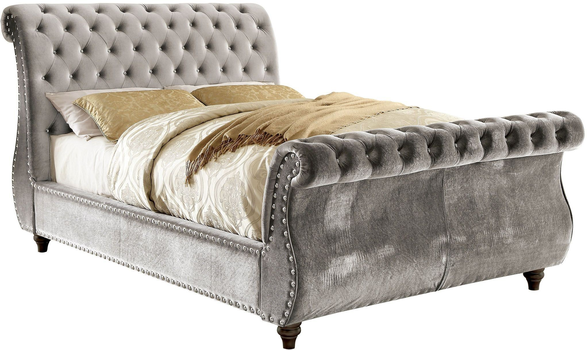 Noella Gray King Upholstered Sleigh Bed Cm Gy Ek