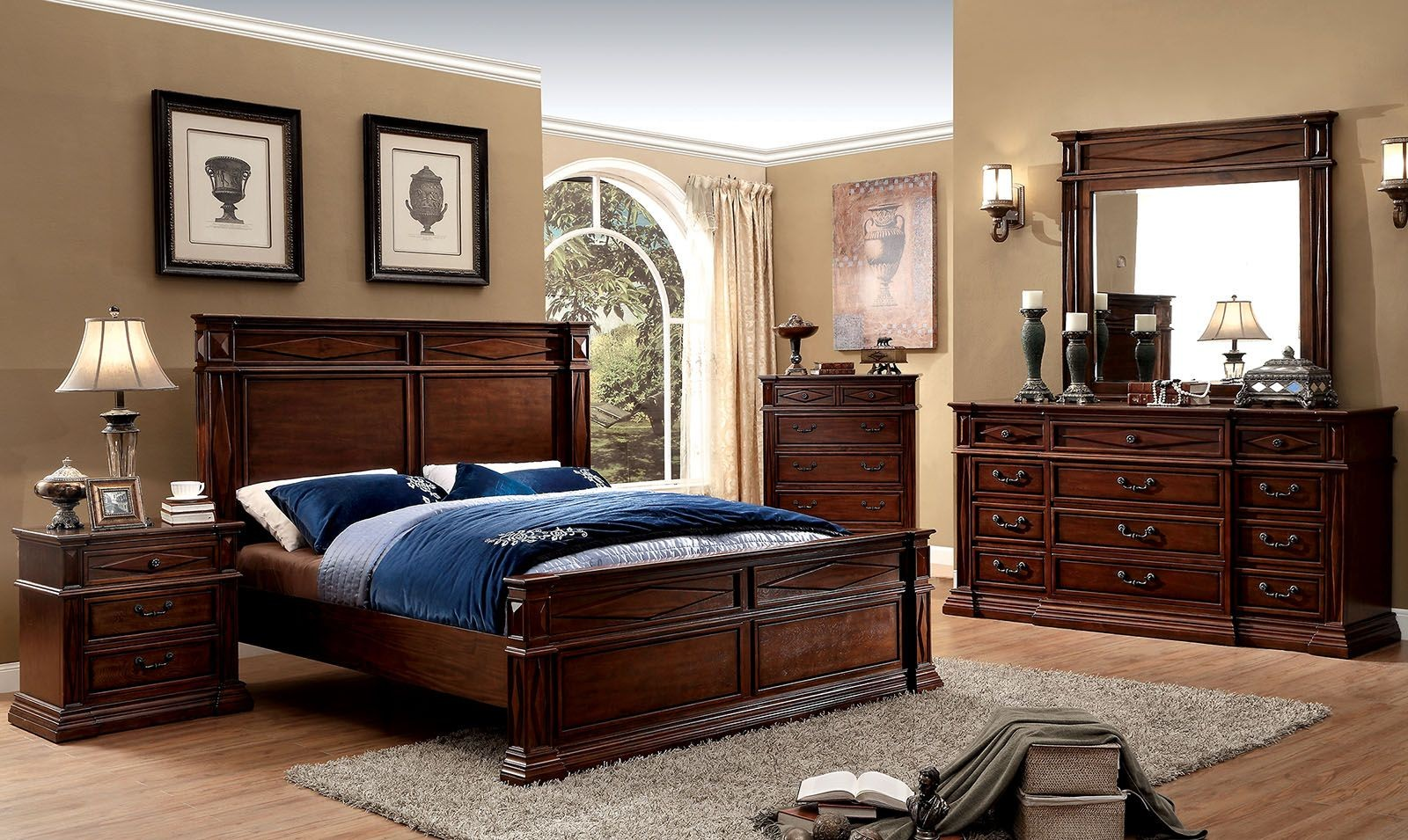 Gayle Cherry Panel Bedroom Set CM7138Q Furniture of America