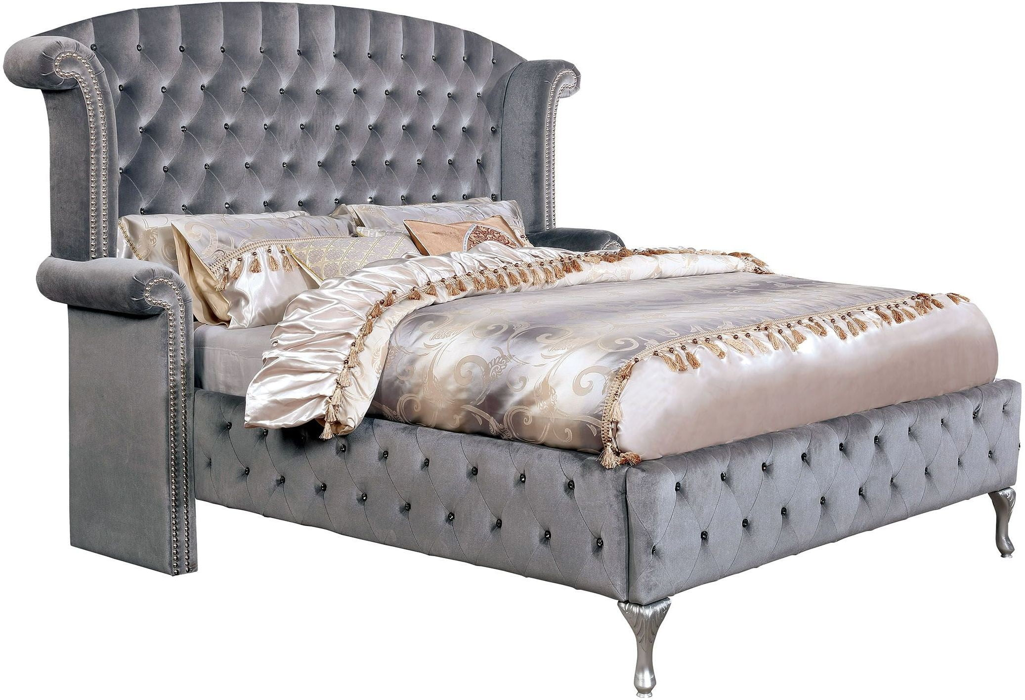 Alzir Gray Cal King Upholstered Platform Bed From