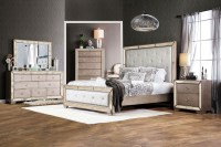 Loraine Silver Upholstered Panel Bedroom Set from ...