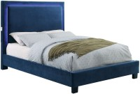Erglow I Navy Twin Upholstered Panel Bed, CM7695NV-T ...