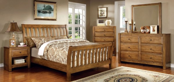 oak sleigh bedroom sets Conrad Rustic Oak Sleigh Bedroom Set from Furniture of America (CM7970Q-BED) | Coleman Furniture