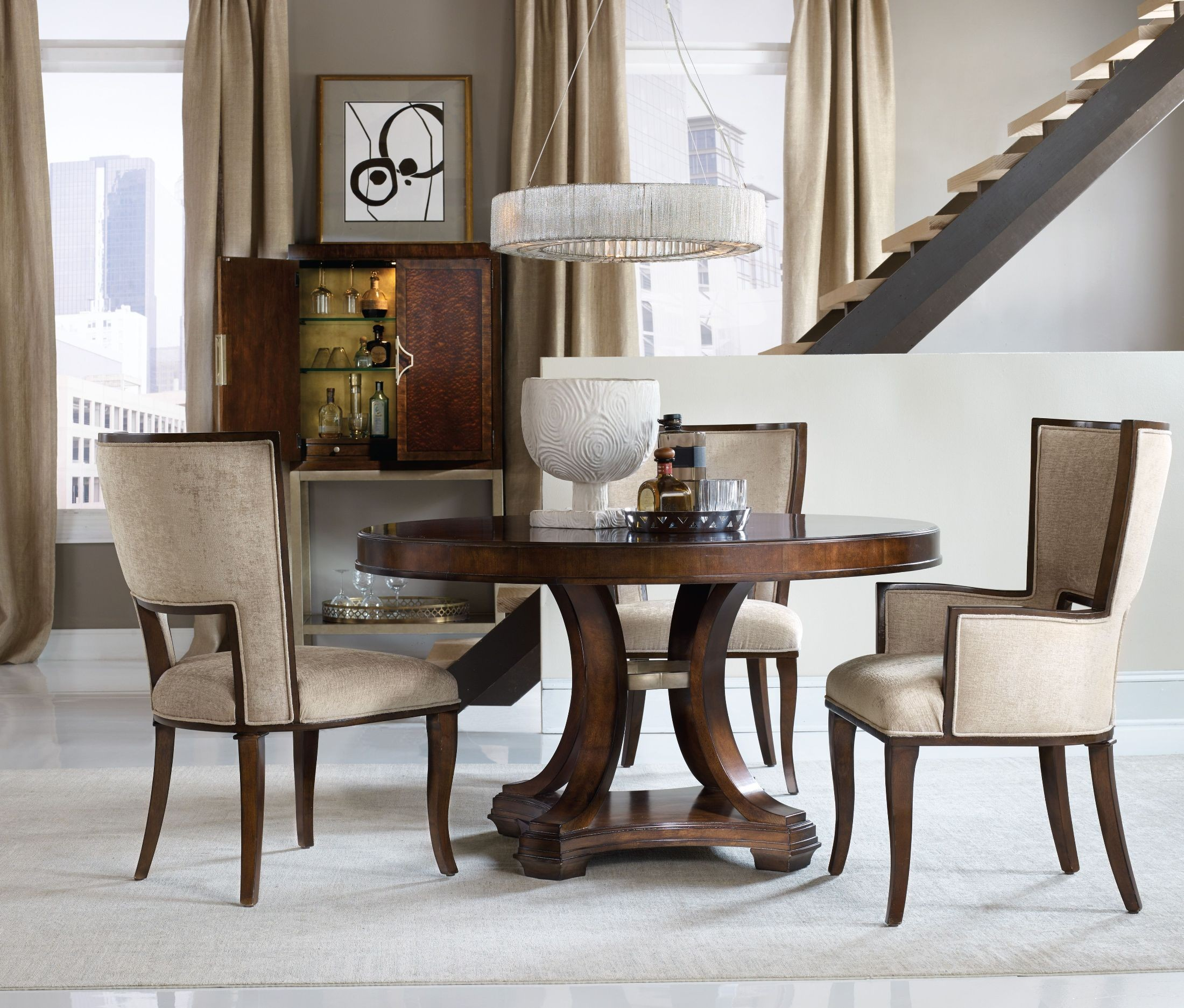 Skyline Brown Round Dining Room Set from Hooker  Coleman