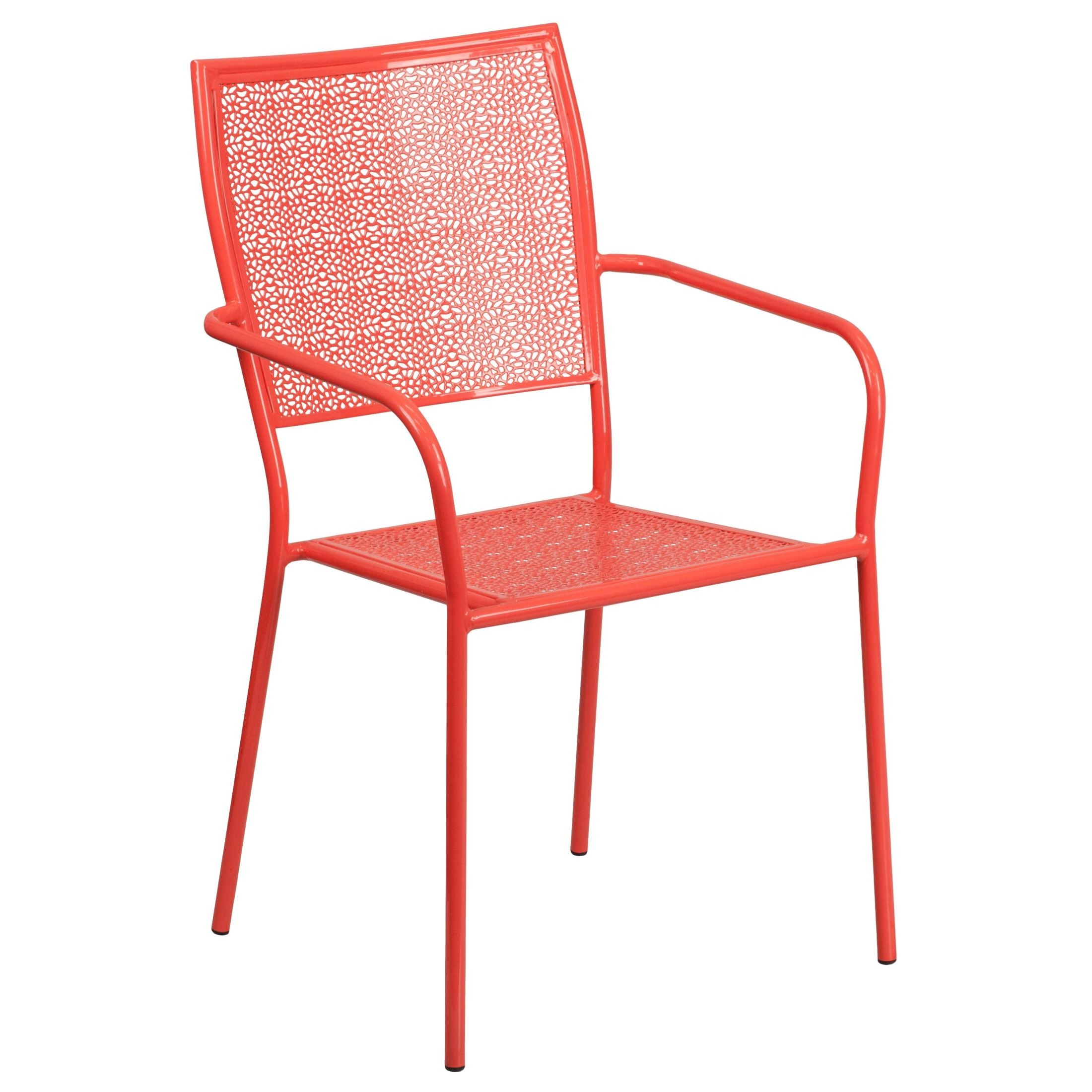 Coral Chair Coral Indoor Outdoor Steel Patio Square Back Arm Chair