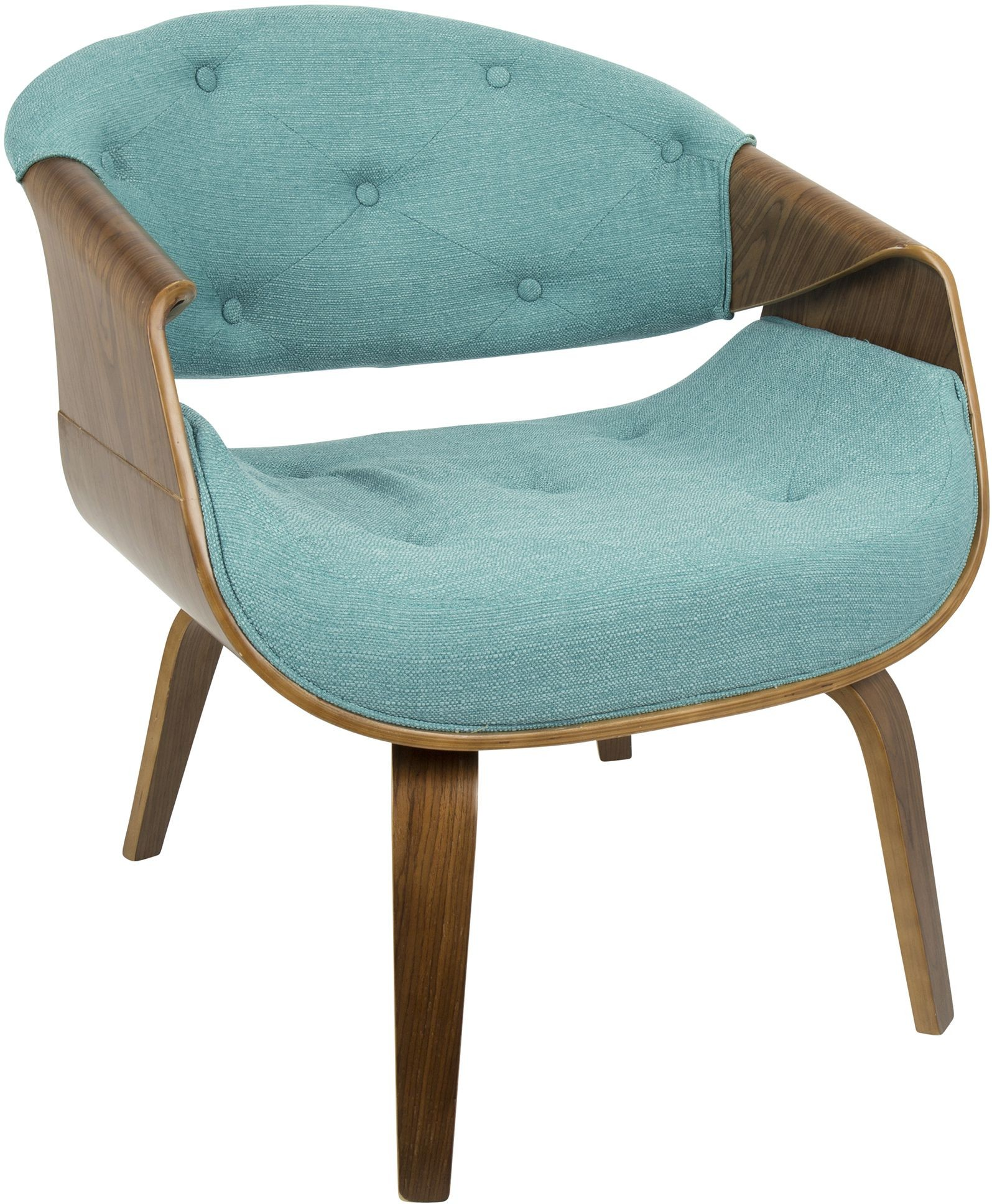 Curvo Walnut and Teal Tufted Accent Chair from Lumisource
