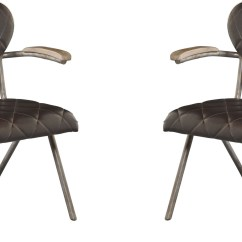 Rustic Metal Dining Chairs Upholstered Swivel Chair Vintage Set Of 2 From Avalon