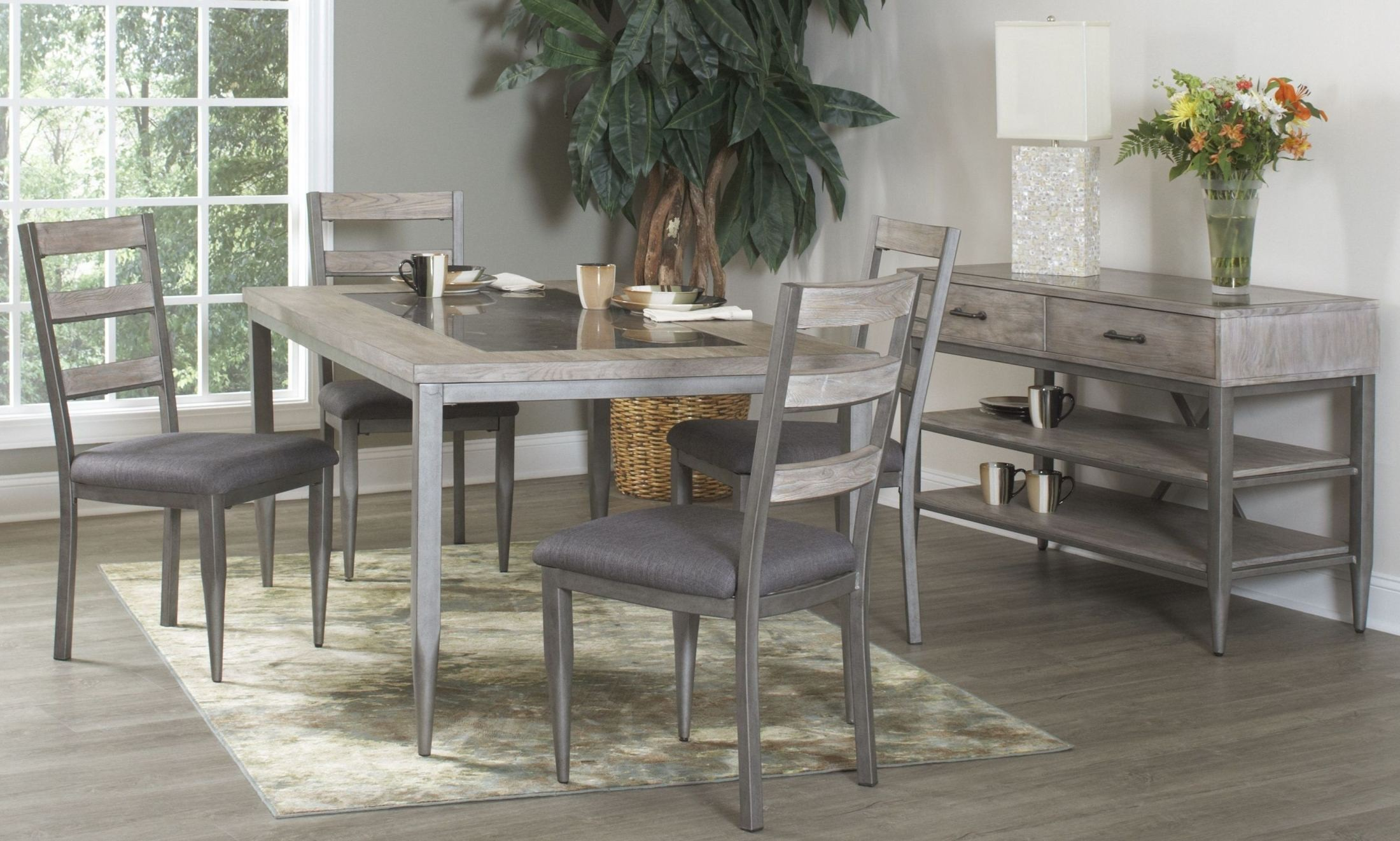 rustic metal dining chairs party city chair covers river loft oak and rectangular room