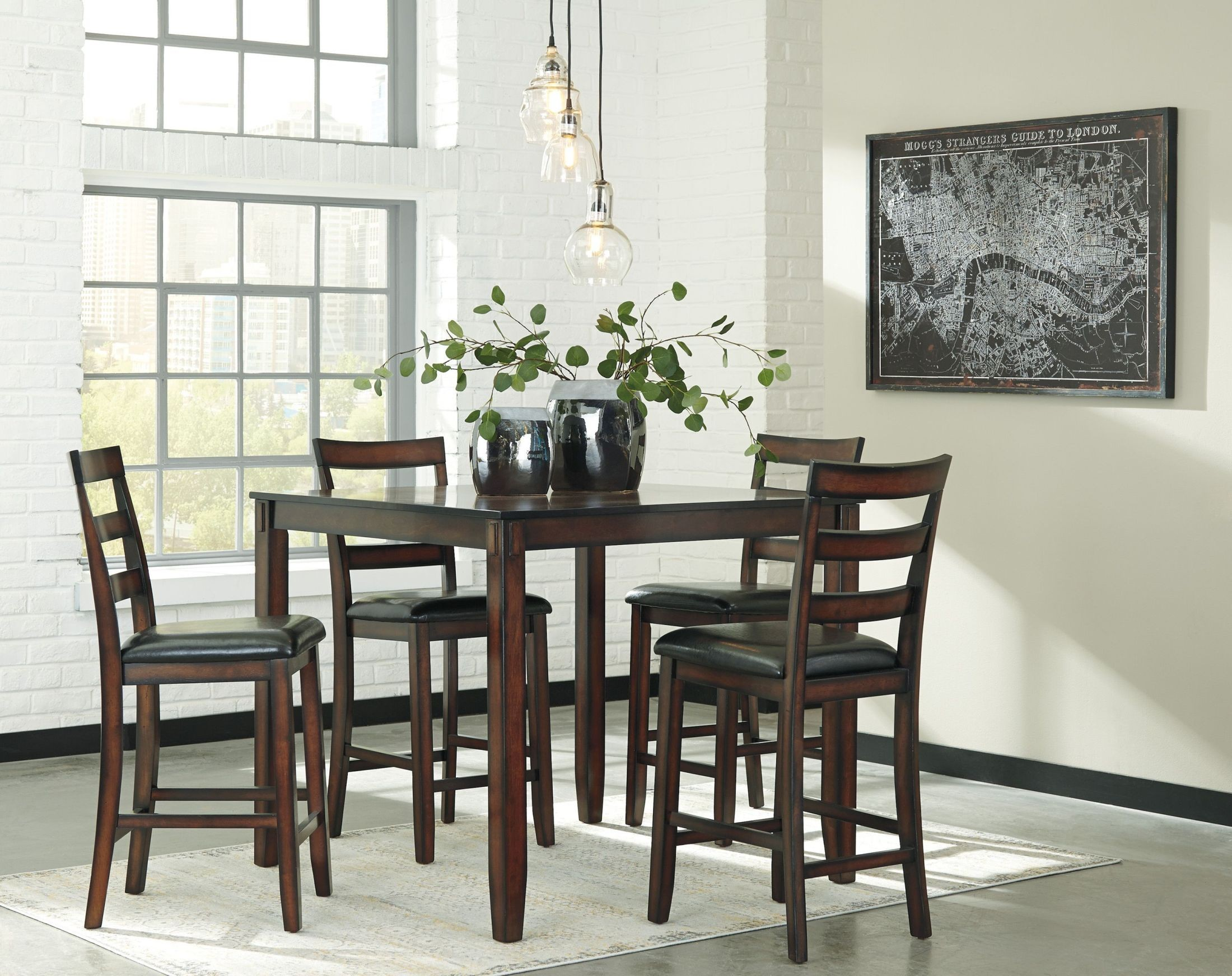 Counter Height Dining Room Chairs Coviar Brown 5 Piece Counter Height Dining Room Set From