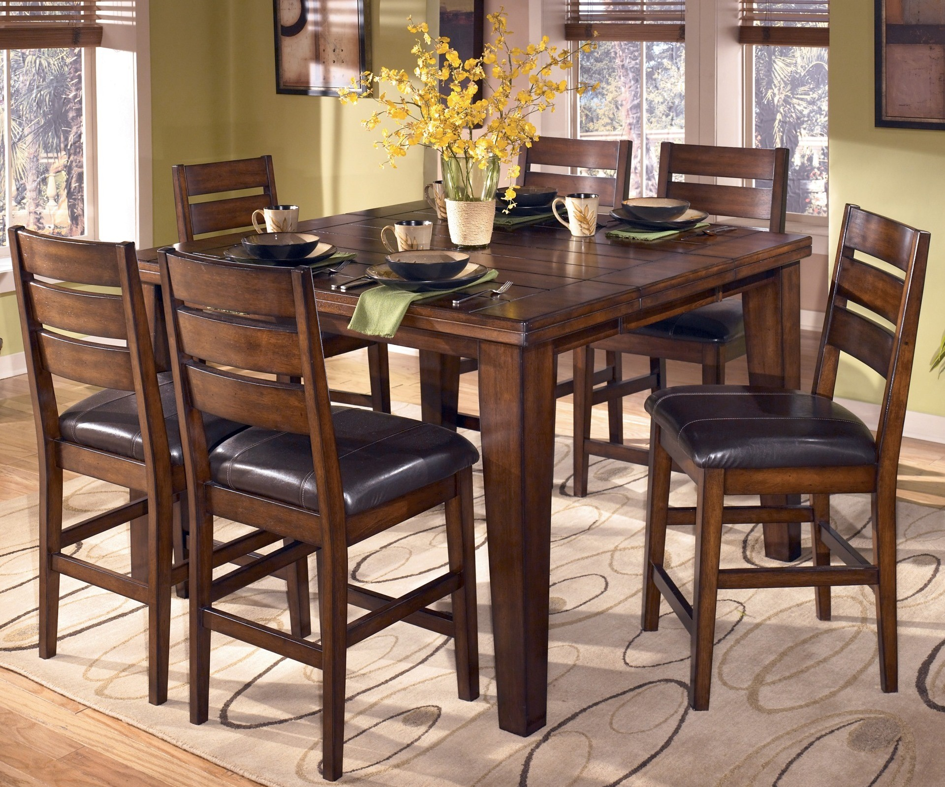 Ashley Furniture Table And Chairs Larchmont Pub Table Set From Ashley D442 32 Coleman
