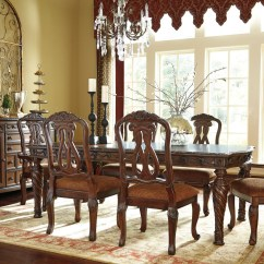 Brown Living Room Chairs Narrow Dining Combo North Shore Rectangular Extendable Set From Ashley D553 35 Coleman Furniture