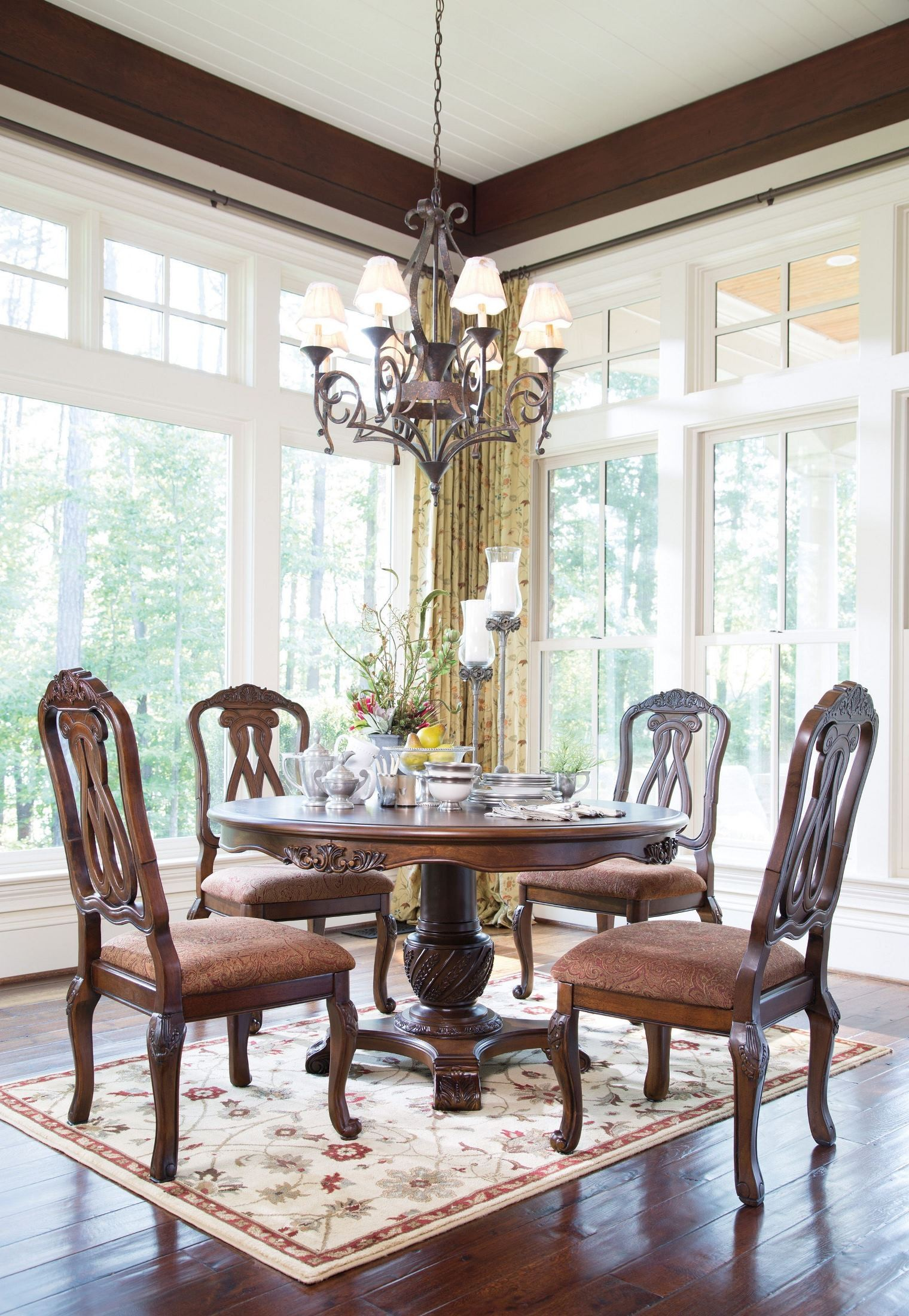 North Shore Round Pedestal Dining Room Set from Ashley D55350T50B  Coleman Furniture