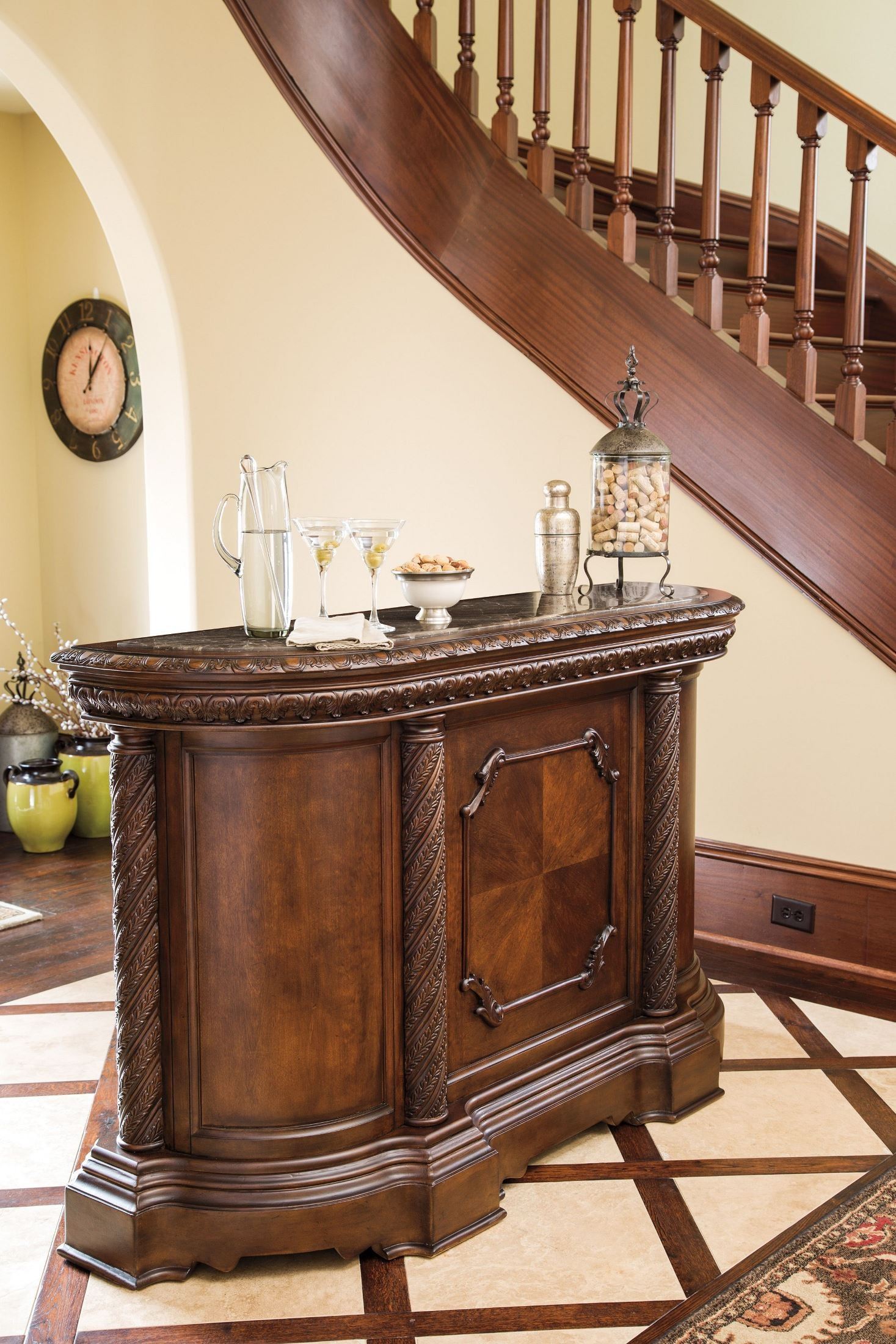 North Shore Marble Top Bar from Ashley D55365  Coleman