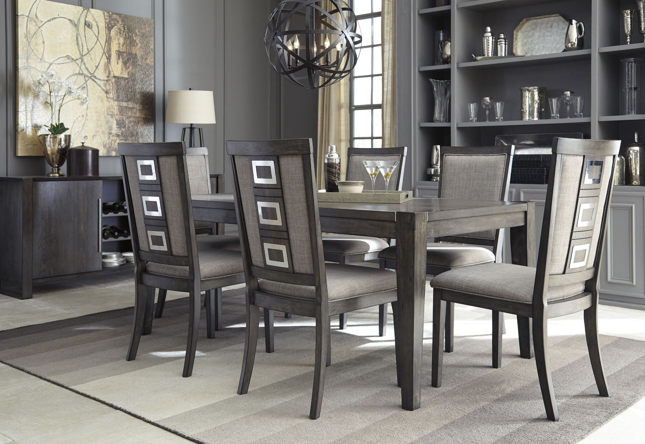 Gray Dining Room Chairs Chadoni Gray Rectangular Extendable Dining Room Set From