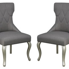 Dark Gray Chair Aluminum Dining Chairs Coralayne Upholstered Side Set Of 2