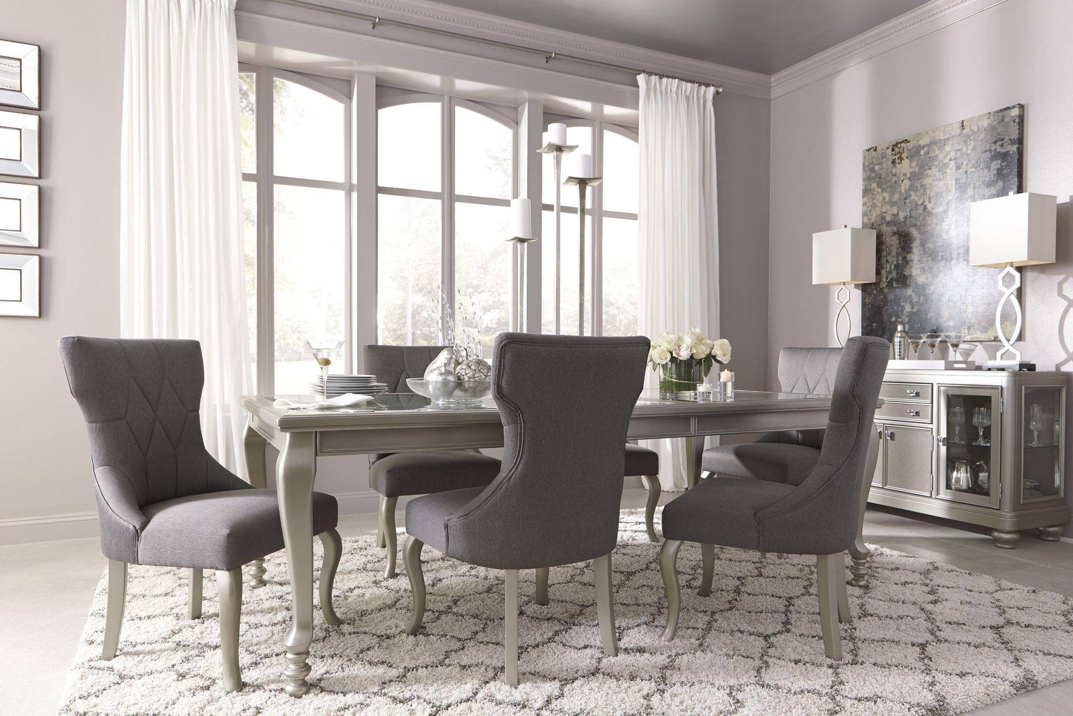Coralayne Silver Rectangular Extendable Dining Room Set