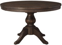 Trudell Dark Brown Round Extendable Pedestal Dining Table ...