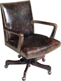 Dougan Dark Walnut Leather Executive Swivel Tilt Chair ...